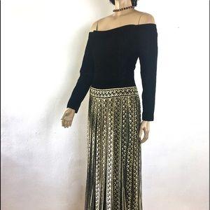 Bill Blass Evening Gown Black Velvet Gold Lace